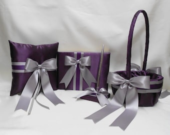 Wedding Accessories Eggplant Plum Silver Flower Girl Basket Ring Bearer Pillow Guest Book Pen Set Your Colors