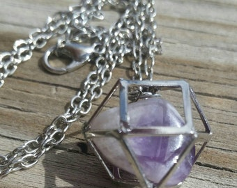 Amethyst Cuboctahedron Necklace in Silver