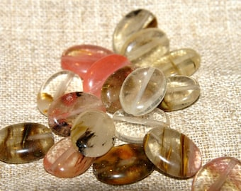 Set of 5 oval tourmaline beads dimension: 20/11 mm