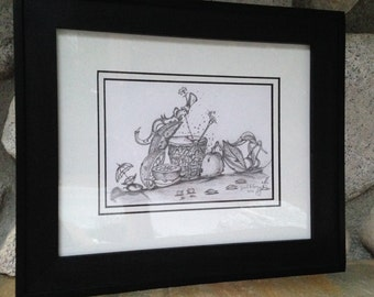 Wall Art, Original Sketch Pencil Drawing, Mount Matt Framed Ready to Hang Artwork by Guido E. Orsini, Black & White Pencil Drawings For Sale