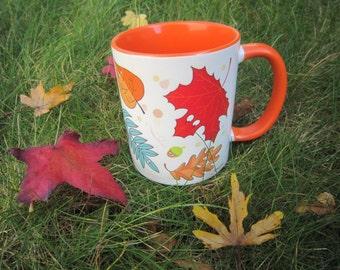 orange autumn Mug, Leaves Mug, Unique coffee mug, ceramic mug, coffee mug, colorful mug