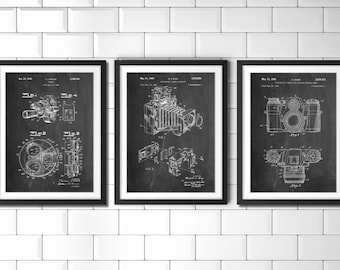 Photography Patent Posters Group of 3, Photography Decor, Camera Wall Art, Photographer Gift PP1167