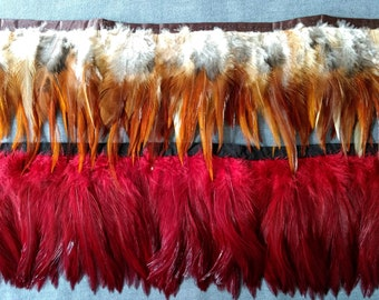 Rooster saddle, hackle, feather fringe, fire red,  umber brown