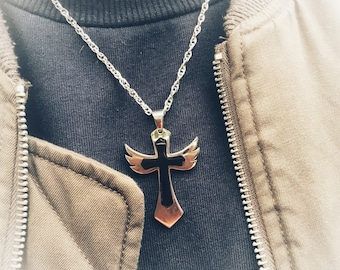 Hypoallergenic and stainless steel necklace and Angel Wings cross pendant.