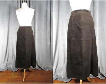Joseph Abboud Midi Suede Skirt. Size 8. Velvety Chocolate Brown Couture Lined Skirt.