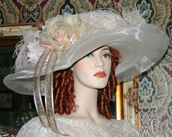 Ivory Kentucky Derby Hat, Ascot Hat, Edwardian Hat, Downton Abbey Hat, Church Hat, Titanic Hat One of a Kind - Lady Ophelia