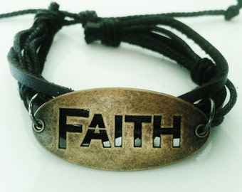 Faith Blessed Inspirational Bracelet Leather Positive Christian Jewelry