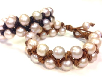 Leather and Pearl Bracelet - Pearl of Wisdom