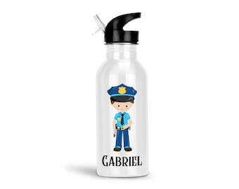 Police Kids Water Bottle - Police Boy Girl with Name, Child Personalized Stainless Steel Bottle BPA Free Back to School