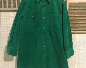 90's GREEN AND BLUE (2) corduroy oversized button down shirt dress