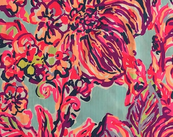 "multi big escapade (floral pattern) dobby cotton fabric square 14""x14"" ~ lilly spring 2017 ~ lilly pulitzer"