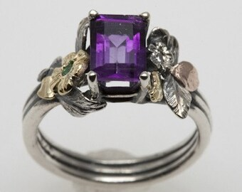 Emerald Cut Amethyst  Ring - in silver and 18K