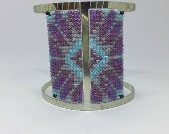 Native Ukrainian ornament beaded cuff bracelet