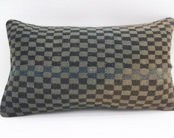 12x20 Kilim Pillow Cover Plaid Pillow throw Pillow Turkish Decorative Kilim Pillow Sofa Pillow 12x20 Indoor Pillow Boho Pillow SP3050-1940