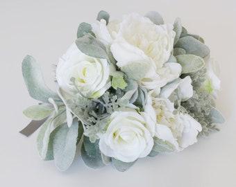 White Bride Bouquet, Artificial Wedding Flower Bouquet, Silk Flower Garden Bouquet, Winter Wedding Flowers, Fake Flowers for Weddings