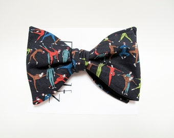 New Spring & Summer Accessories - Artistic colourful dancers print freestyle thistle cotton bow tie