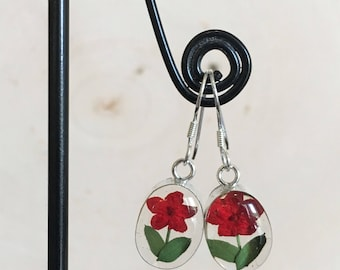 Sterling Silver Real Miniature Red Flowers Clear Background