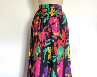 Vintage print skirt pleat floral disco party 80s high waisted knee length ~ size M