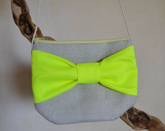 Bow neon yellow and beige bag