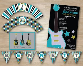 Guitar, Rock n Roll Baby Shower Party Package