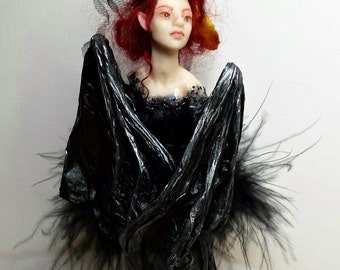 Ursula, the Bat-Winged Fairy, Hand Sculpted OOAK Fantasy Art Doll Collectible