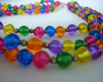 Multicolored Acrylic Bead Necklace -  Rainbow Necklace -  3 Stranded - Colorful