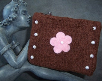 Brown Felted Itty Bitty Bag