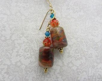 Lampwork Earrings Earthtone Colored Earrings Glass Bead Earrings Dangle Drop Earrings Barrel Bead Earrings SRAJD USA Handmade