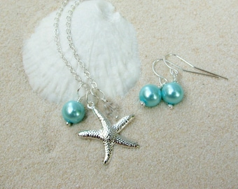 Bridesmaid Jewelry Necklaces and Earrings Aqua Blue Pearl Wedding Jewelry Starfish Necklaces Beach Wedding