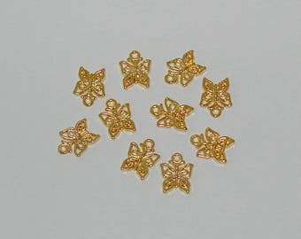 10 Butterfly style colour Tibetan antique gold