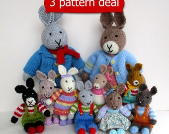 3 PATTERN DEAL - Father Bunny, Mother Bunny, Rabbit Rascals - Rabbit doll knitting patterns - PDF In stant download