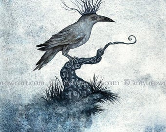 8X10 The Raven King crow PRINT by Amy Brown