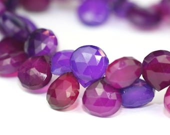 Chalcedony Faceted Heart Briolettes 2 Focals Radiant Orchid Grape Purple Semi Precious Gemstones