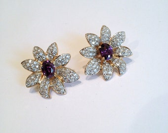 Vintage Gold Vermeil Amethyst Purple Sapphire and Pave Flower Estate Earrings Purple Stone Green Stone Mixed Gemstone Earrings