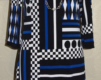 size 10-12 CALVIN KLEIN SHEATH Dress wiggle dress Abstract Geometric Print Fabric