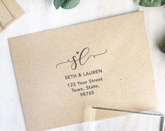 Modern Calligraphy Return Address Stamp | Custom Address Stamp - Modern Wedding Stamp - Wedding Monogram - New Home Gift