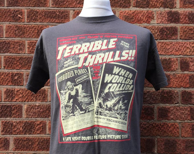 Terrible Thrills rocky horror picture show inspired t shirt in grey which gives this science fiction double feature a great vintage vibe