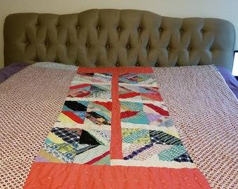 Antique Quilt, Patchwork Quilt, Feedsack Quilt, Hand Sewn Quilt, Vintage Quilt, 76 x 64, Paisley Quilt, Textile, Kitsch, Farmhouse, 1940s
