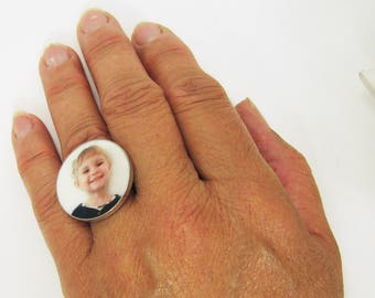 Custom Photo ring with a clay tile set in Sterling Silver - Large
