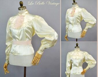 30s Ivory Satin Shirt Vintage Dramatic Puff Sleeves ~ Jabot Belt Set ~ Lerner Shops Deadstock