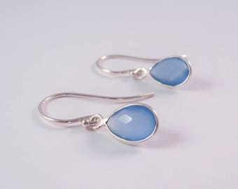 sterling silver chalcedony tear drop earrings, sterling silver chalcedony earrings, chalcedony earrings, blue gem earrings, gift for her,