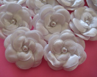 """White Satin Flowers 3 Layers Puffy Petals Faux Pearl Center Appliques for Princess Dresses, Wedding, Sewing, 1.5"""", 12 pieces"""