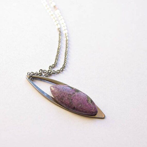 Purpurite Pendant With 925 Sterling silver chain, Purpurite Necklace, Purpurite Gemstone, Purpurite  Jewelry, Purpurite Cabochon