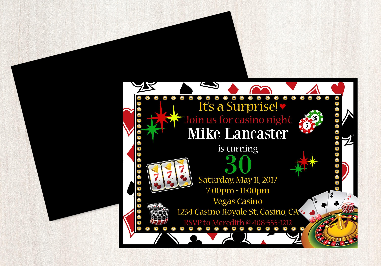 Casino Night Party Invitation Casino 30th Birthday