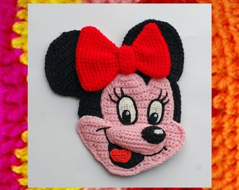 Crochet Pattern. Applique. Charming Mouse. Minnie and Mickey Mouse appliques. Knitted Fairytale gift. Amigurumi pattern. Cartoon face