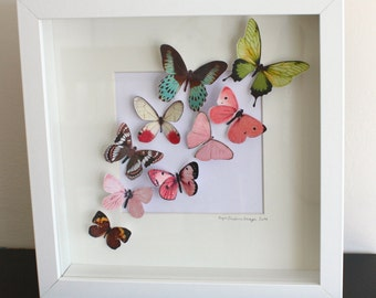 Framed 3D Bright Coloured Fluttering Butterflies Wall Art Picture,  Birthday, Housewarming
