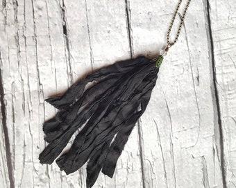 Tassel Necklace, Long Necklace, Bohemian Necklace, Layering Necklace, Silk Tassel, Statement Necklace, Gypsy Necklace, Long Tassel Necklace