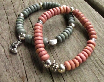 Gray & Pink Wood Stretch Bracelets, Women's Beaded Stacking Bracelets, Silver Crescent Moon Charm - Choose One or Both