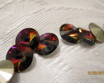 12mm, Swarovski, Art 1122, Faceted Crystal Rivoli, Volcano, Foiled, Undrilled - Available in 2, 4, 6 & 10 Stone Pkgs and in Larger Pkgs