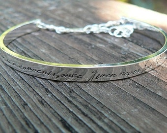LIMITED TIME SALE Extra-Thick Wide Heirloom Quality Custom Sterling Silver Stamped Clasped Cuff Bracelet - Your Own Message Hand Stamped Ins
